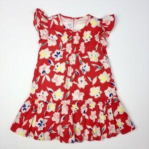 J. Crew Girls Bright Floral Ruffle Dress Size 4